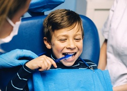 Little boy getting children's dentistry in Soldotna